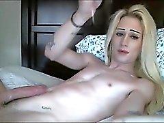 Blonde Transsexual Hottie Cumming Hard