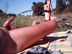 Flashing my dick to different girls outdoor
