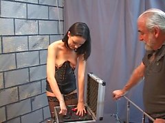 Cute little brunette is excited about getting shocked with e stim toy