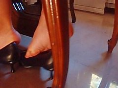 Bare Feet In Pointy Black Heels Shoeplay