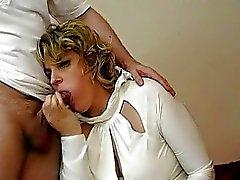 Blonde UK MILF fucks in sexy black stockings