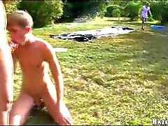 Slosh Balls at Outdoor Gangbang Gay Orgy