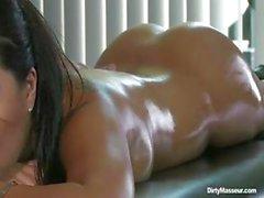 Hot Asian bitch Asa Akira gets a massage and banged by his long dong