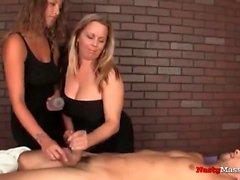 Busty masseuses giving handjobs