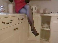 Girl posing in stockings