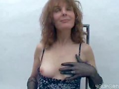 Mature amateur in gloves and pantyhose