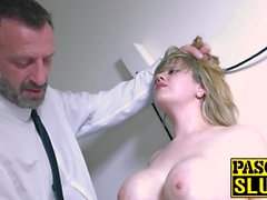 Madison Stewart's cum crawing satified by a dominative stud