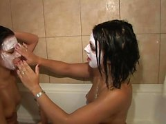 Two hot babes take a shower together