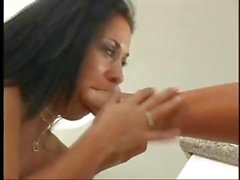 Montana and Charlie suck feet and poke pussy before using strapon