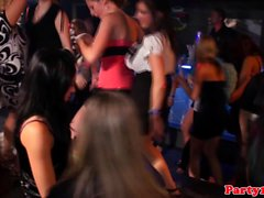 Euro amateur gets bottle in pussy on dancefloor