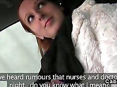 Redhead amateur banging in a fake taxi
