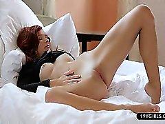 Freaky emo girl solo masturbate at home
