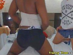 Ebony Tranny Gets Fucked From Behind By Hot Dude