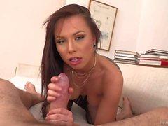Topless brunette Aidra Fox in blue panties licks Manuel Ferrara's