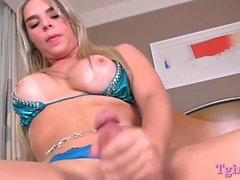Sexy big tits blondie shemale wanks her fat hard cock