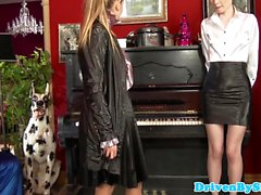 Classy lesbian babes orgy with piano teacher