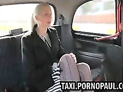 Messy creampie in back of taxi