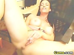 Busty Lady Masturbating with her Dildo HD