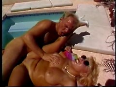 Fucking all of this blonde slut's holes by the pool and giving her a facial