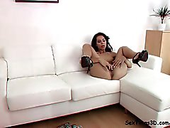 Fererra masturbating on a sofa 3D