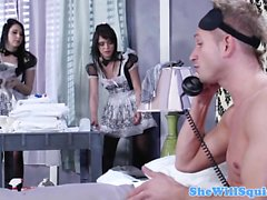 Cumswapping maid duo in uniform have threeway