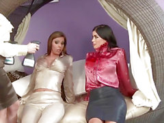 Breasty oiled lesbian babes in pussylicking threeway