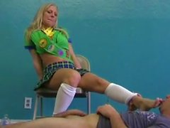 blonde foot job (girl scout)