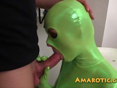 Hot teen in green catsuit