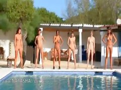 Six naked girls by the pool from usa