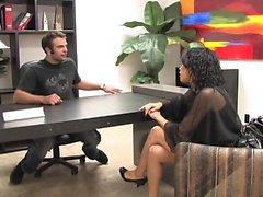 Exotic brunette gets facila after banging in an office
