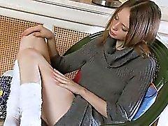 White socks and ultracute masturbation