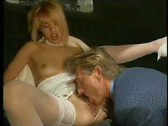 Blonde Euro slut in lingerie riding a thick dong