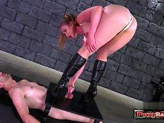 Hot pornstar ballbusting with cumshot