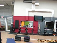 Jizzy teen banged at gym