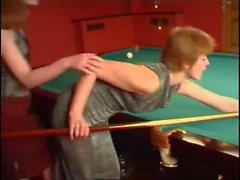 Sexy Lesbians Use Strapon On Pool Table