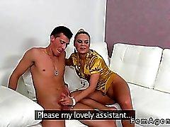 Blonde female agent with glasses fucks amateur guy