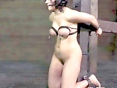 bdsm sub has bonded tits caned severly