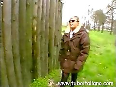 Amateur blonde Italian is outside and gives this guy head