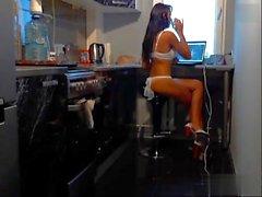 bj hot brunette cooking in high heels