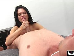 Busty chick pleases a hard pecker