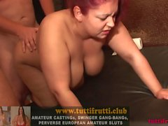 fat huge tits BBW Euro swinger Gang-bang