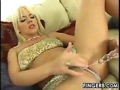 Blonde Girl Masturbates With A Dildo