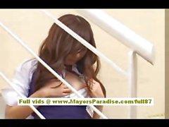 Miyu Hoshino Chinese girl in school uniform rubs her wet pussy