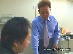 Shy Asian Secretary Receives Visit From Her Boss