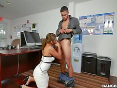 Sexy woman gets pounded on office desk