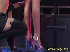 lesbian dildo porn on show stage