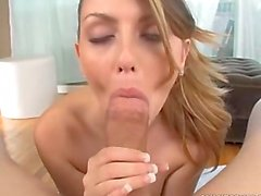 Staci Silverstone uses her tongue on a cock