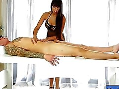 Mature masseuse deepthroats and facialed under the table