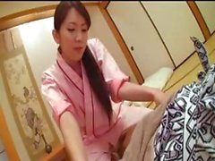 Dutiful Japanese housewife gives her husband a blowjob and gets fucked before they sleep for the night