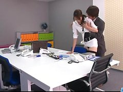 Strong office fuck along the boss forMaki Hojo